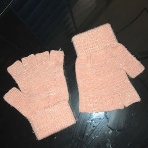Pink & Silver Sparkle Fingerless GAP Gloves